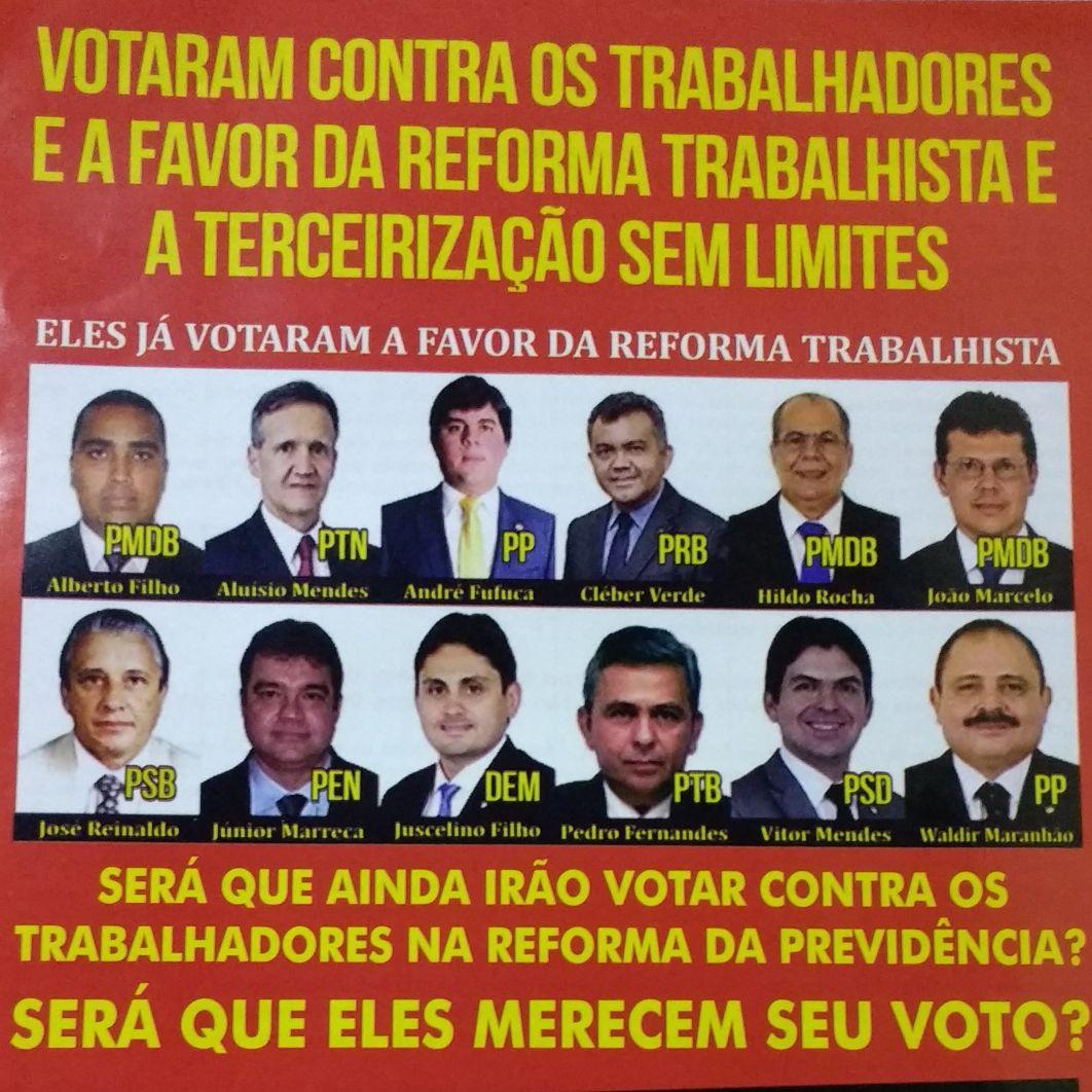 Panfleto denuncia deputados que votam contra trabalhadores